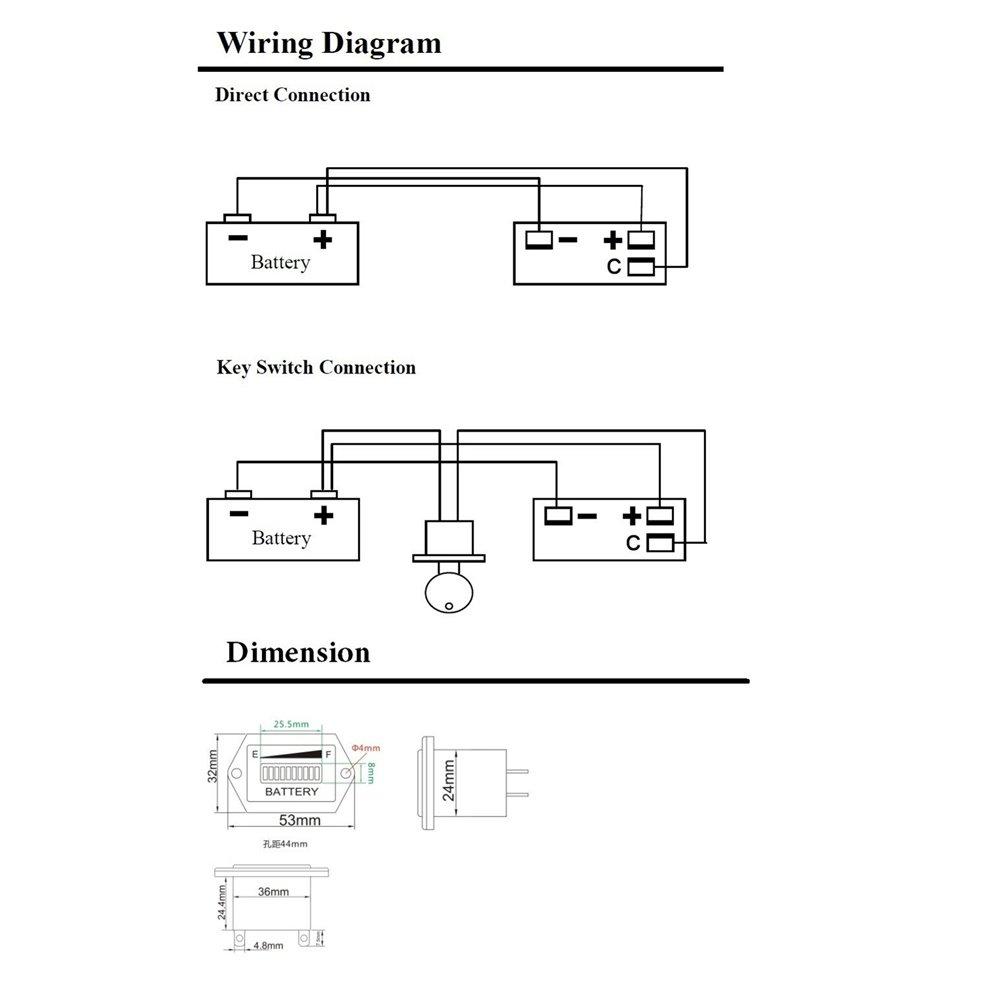 aimila led battery charge discharge status indicator gauge. Black Bedroom Furniture Sets. Home Design Ideas
